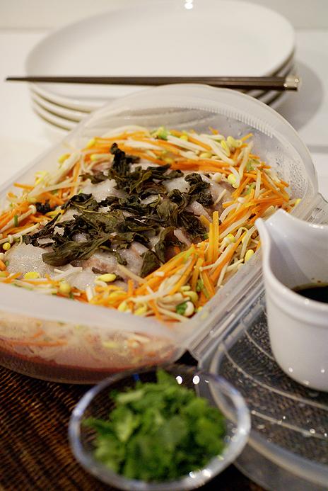 帆立と冬野菜のフォンデュ風 4つの風味